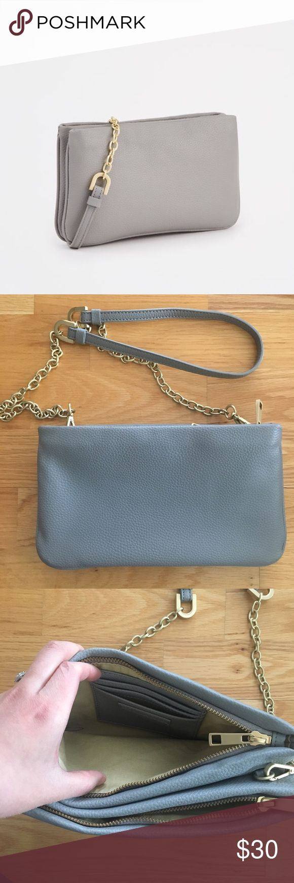 Ann Taylor Double Gusset Crossbody Bag In excellent condition. 2 compartments, 3 card slotz No rips, stains or tears to note and clean interior. Additional pictures shown from my blog for styling purposes only. Bunny bag charm is not included. Ann Taylor Bags Crossbody Bags