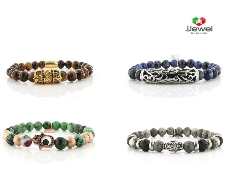 Bracciali collezione Maracaibo composto da pietre semi-preziose con elemento in metallo.