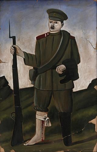 Wounded soldier (Part of diptych) - Niko Pirosmani, Georgian