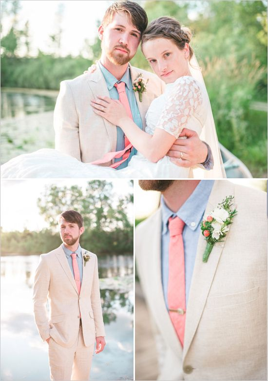 linen suited groom look with coral tie