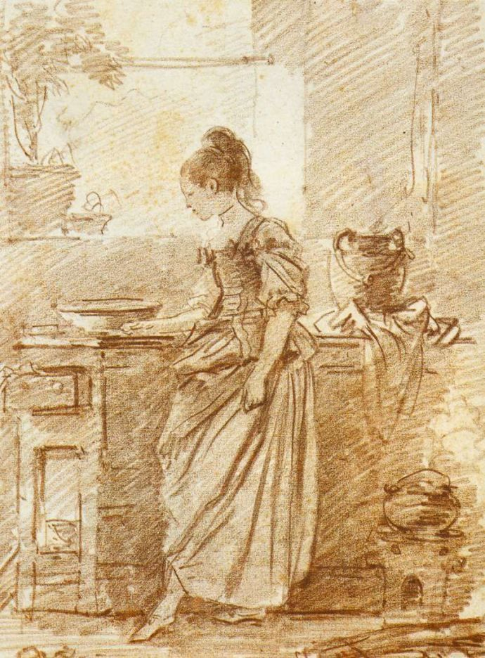 The Party Cook  Fragonard, 1775 chalk drawing