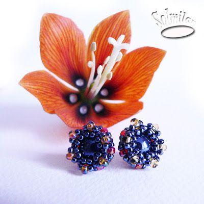 SolmilarArt: Biżuteria z koralików -  kolczyki sztyfty earrings, beads, hand-made