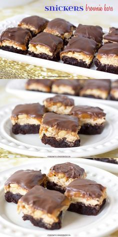 Snickers Brownie Bites are rich and sweet with a nougat and salty peanut layer topped with a soft chocolate. www.Embellishmints.com