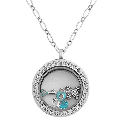 CharmsStory Butterfly Lock Key Floatimg Charms Memory Living Locket Magnetic Necklace Pendant *** You can find out more details at the link of the image.