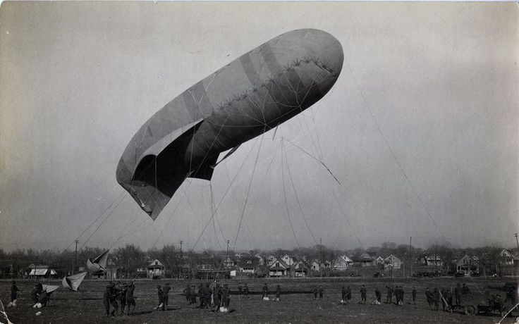 This collection of photos follows the 8th Balloon Company from training at Fort Omaha, Neb., to the Front. The 8th Balloon Company was one of 17 balloon companies to see combat in World War I. This photo shows the Kite Balloon just going up in Fort Omaha, Neb. (U.S. Air Force photo)