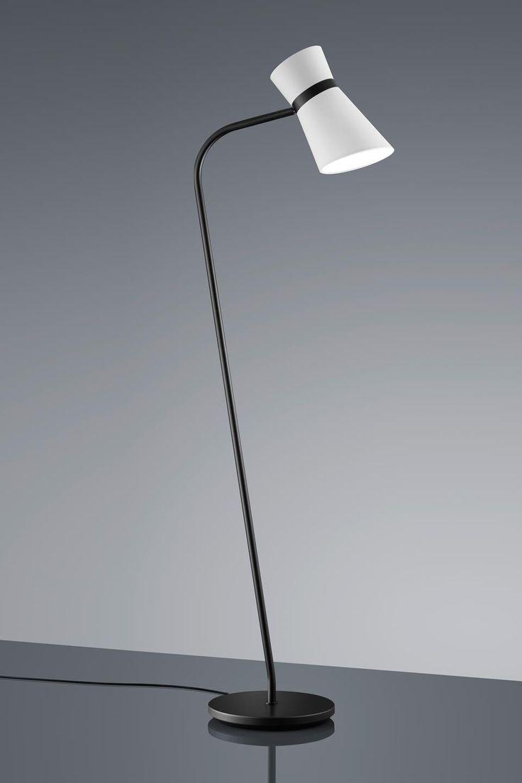 Liseuse en métal noir mat Abat-jour en chintz blanc orientable - Baulmann Leuchten - Lampadaire #vraimentbeau #design #lampadaire #baulmannleuchten