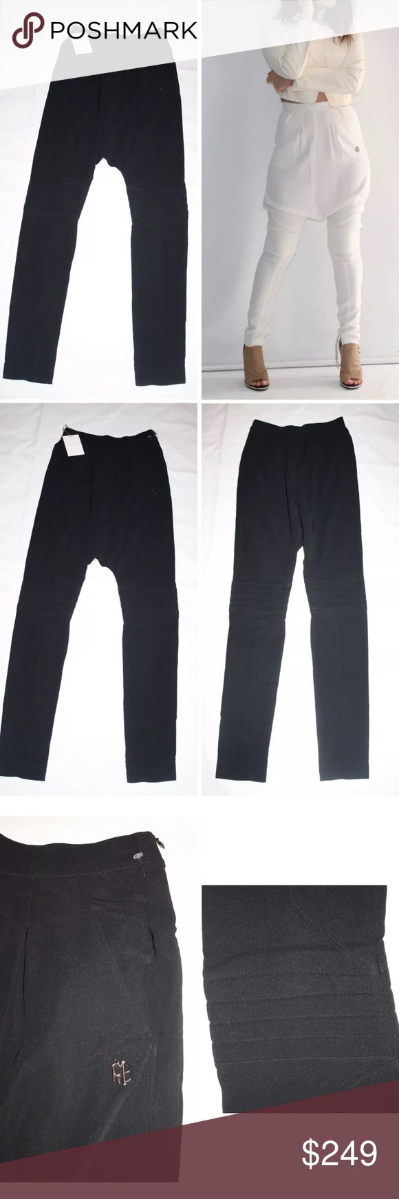 PIERRE BALMAIN HAREM BIKER TROUSER SKINNY PANTS Authentic Pierre Balmain Harem Biker Trouser in black only shown in Ivory to display the fit $990 retail New with tags! Harem biker trouser in black from Pierre Balmain. These skinny leg harem trousers feature a defined waist, two side pockets, & a pleated front waist. Has a dropped crotch, a padded knee with striped detail, a concealed side zip, and tonal seam stitching.  Designer Size: 24/FR38 would fit US size small best: high rise waist…
