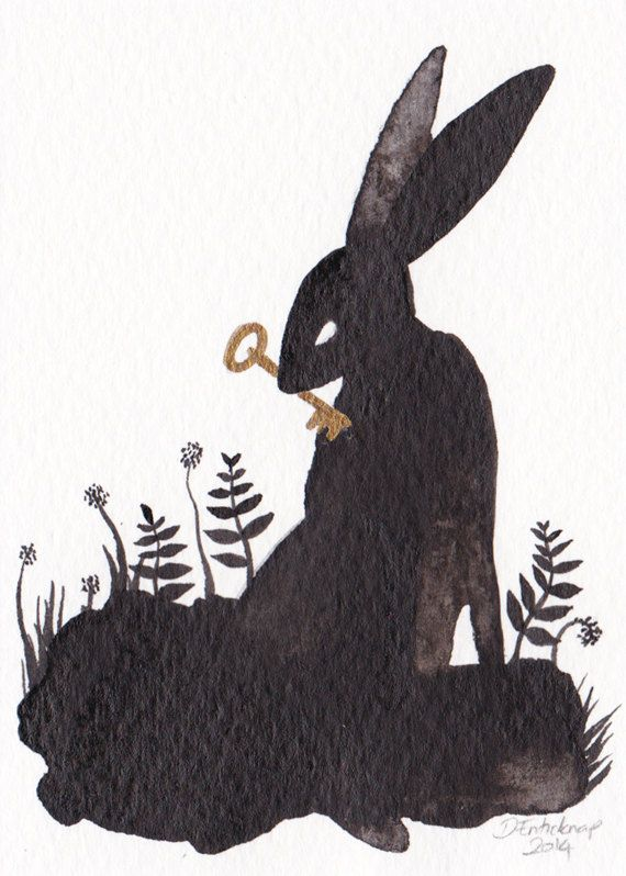 Hare and Key - ACEO - Original Art Card Illustration available on Etsy