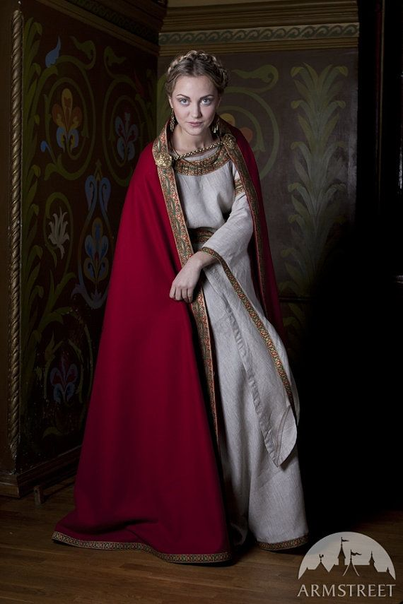 Red wool cape - Anne of Kiev. The Queen Mother of somewhere with a hint of Russia to the culture.