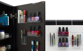 Want to save space and organize your makeup? Use these http://everymomneeds.com/stick-on-cosmetic-organizers/
