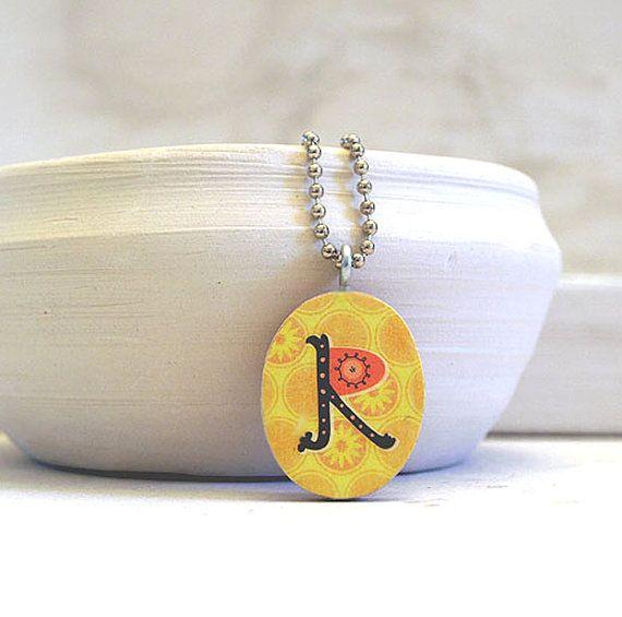 initial charm necklace  monogram pendant  letter R
