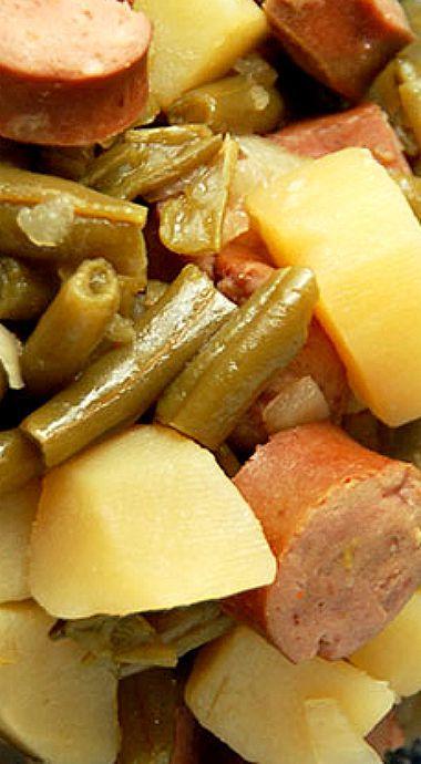 Crock Pot Sausage, Green Beans and Potatoes