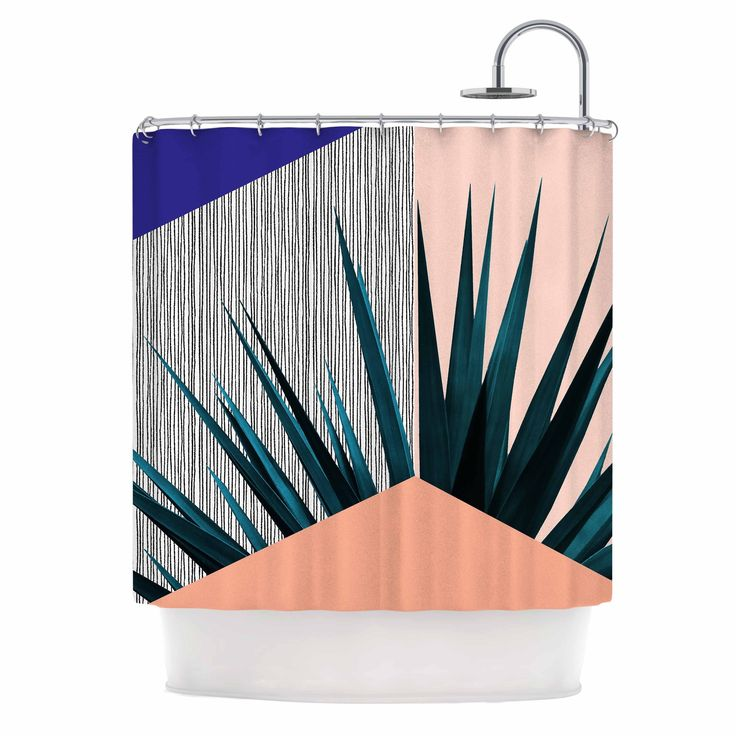 "Kess InHouse Cafelab ""Summer Geometry "" Blue Coral Shower Curtain"