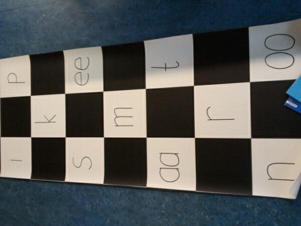 Letterspringmat. Woordkaartjes maken. De leerlingen springen de woorden en de andere leerlingen kunnen gaan raden welk woord er is gesprongen!