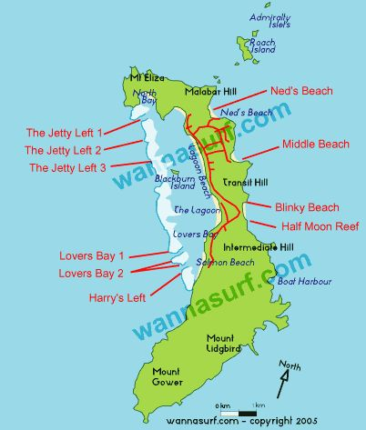 Map of Lord Howe island