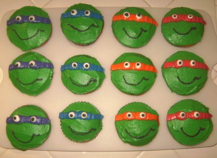 Ninja Turtle Cupcakes - I made these for my sons 4th birthday party at Daycare. VERY pleased w/how they turned out...and they were very easy!!! I got the inspiration from sammyb on the wilton forum.....