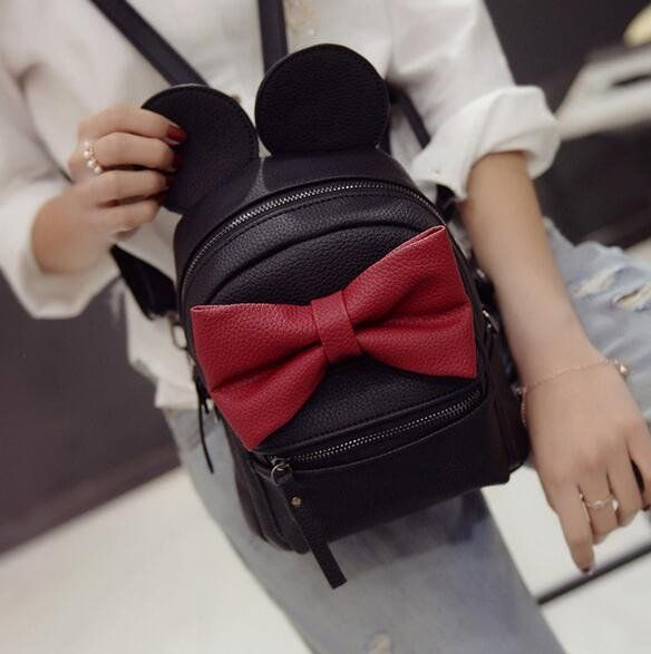 Disney Minnie Mickey Mouse Ears Bow Backpack Bag- Available In 12 Color Combinations - Katy's Princess Boutique