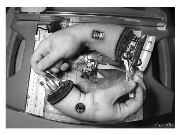 """""""'Hands Fixing Hands' is Shane Willis's clever and well-executed transhumanist take on Escher's 'Hands Drawing Hands'"""""""