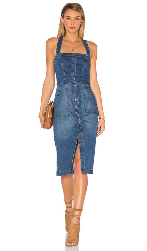 Claire Denim Snap Dress – They must have this pinned in the back on the model be…