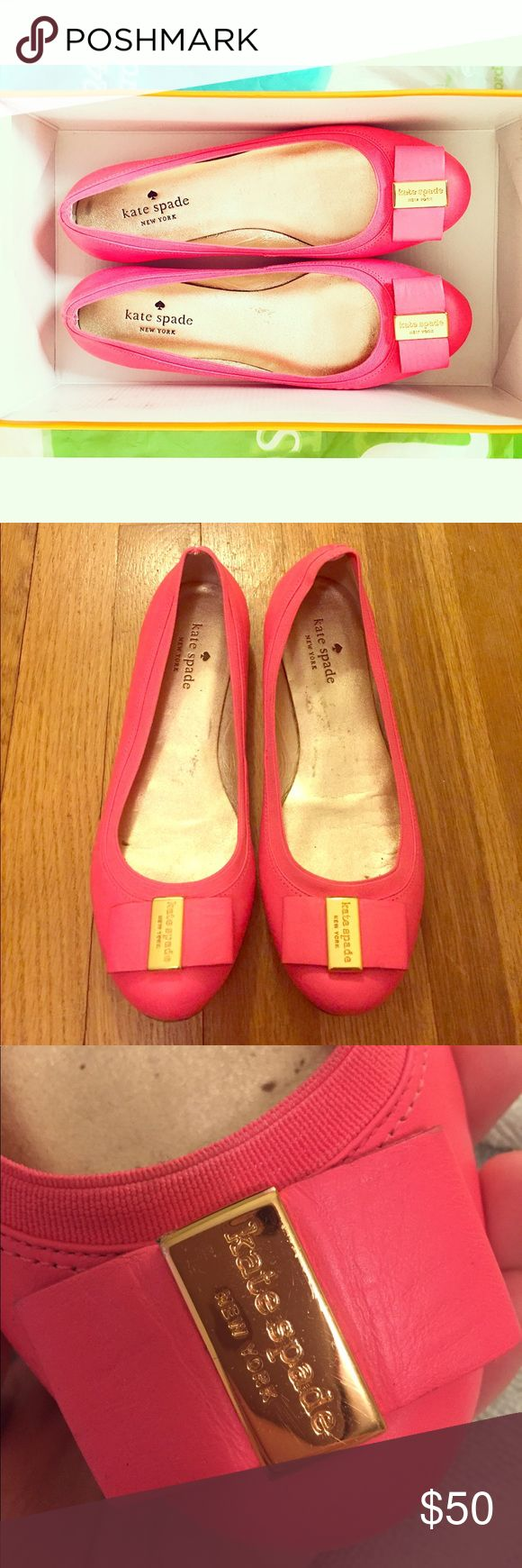 Kate Spade pink ballet flats 🎀🌺🌸💗 Kate Spade pink ballet flats! Used but in decent condition- just some scuffing on the bottom side of the shoes. Worn maybe 5 times total! Perfect for spring 🌸. kate spade Shoes Flats & Loafers