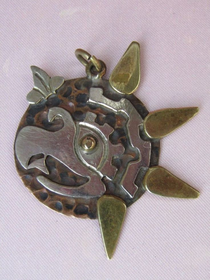 Crafted from Silver, Brass , Cooper signet Mexico Aztec  Pendant.