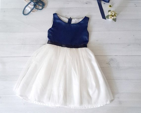 navy and white flower girl's dress, toddler dress, tutu dress, birthday dress, choose your own satin color