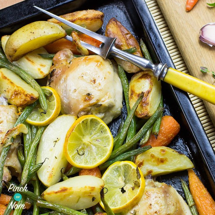 This Syn Free Lemon and Garlic Chicken Tray Bake is quick, easy, tasty and full of speed. Perfect for the Slimming World Extra Easy plan.