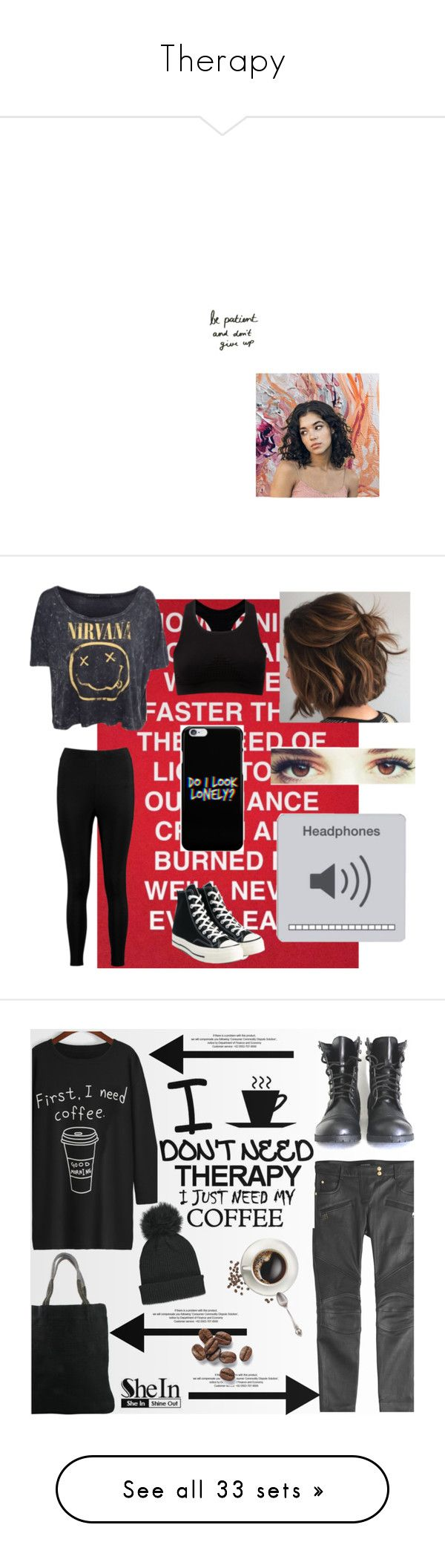 """Therapy"" by winkiefingers ❤ liked on Polyvore featuring art, wandererzine, Sweaty Betty, Boohoo, Converse, Balmain, StyleNanda, canvas, Therapy and Forever 21"