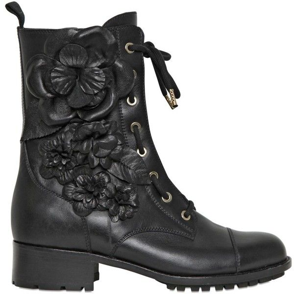 VALENTINO 30mm Calfskin Embroidered Combat Boots found on Polyvore