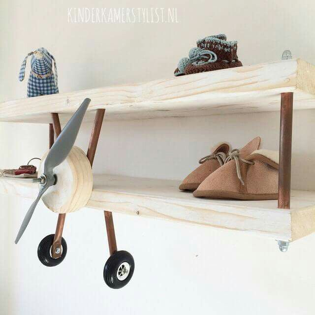 + #kids #shelf #wood #biplane