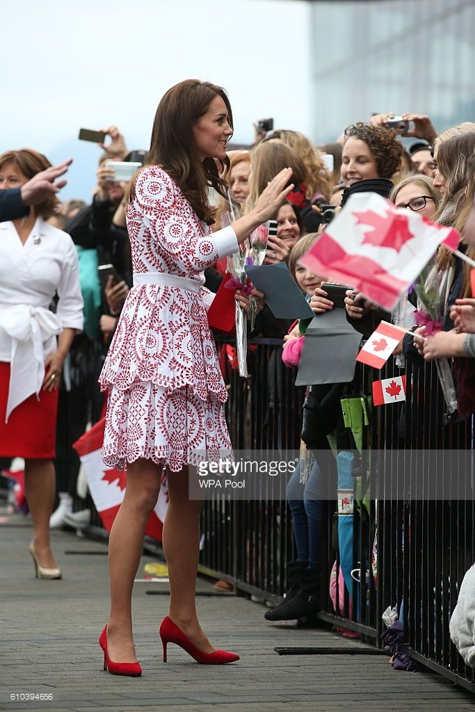Catherine, Duchess of Cambridge greets members of the public after after arriving by sea plane at the Vancouver Harbour Flight Centre during their Royal Tour of Canada on September 25, 2016 in Vancouver, Canada.