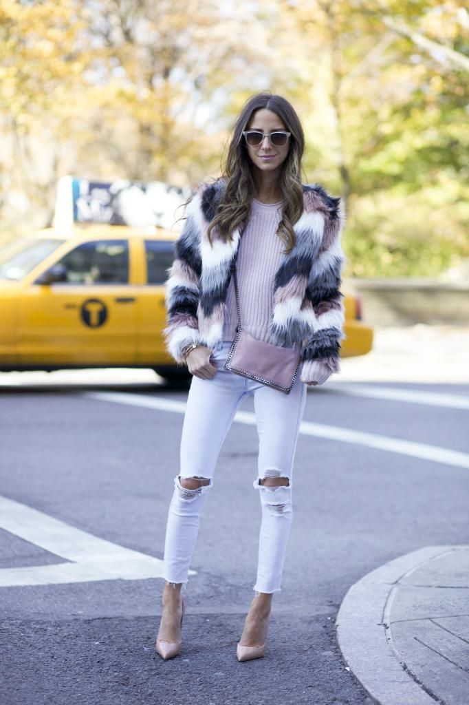Blogger Style l Something Navy: multi- coloured faux fur coat x light pink sweater x white ripped skinny jeans x nude heels x nude bag