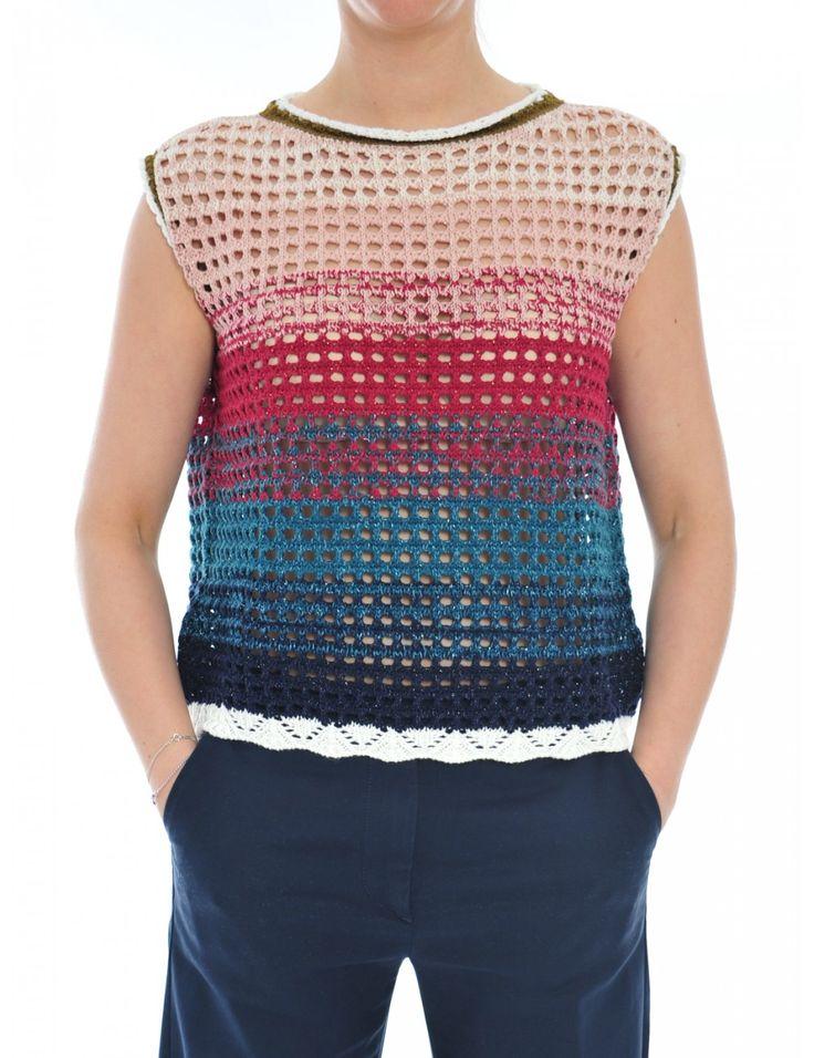 GILET MAGLIA DONNA - Caneppele gilet tricot Roberto Collina in cotone e lurex.  80% cotone  15% nylon  5% poliestere  #look #ss2017 #outfit #top #woman #fashion #multicolor
