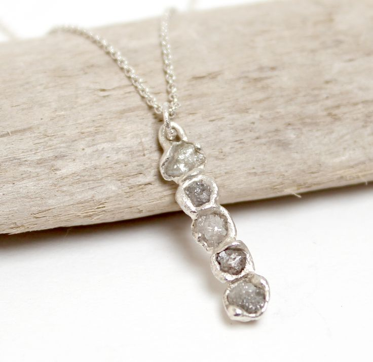 Tamara Gomez - Rough diamond bar pendant, sterling silver #roughdiamonds