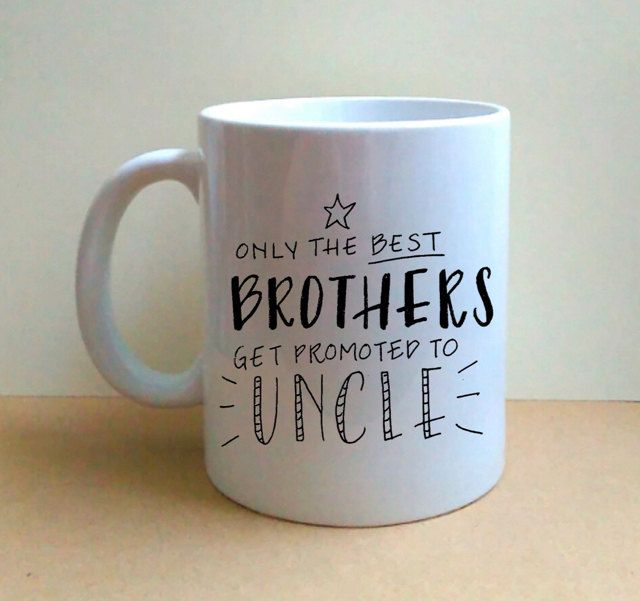 Only The Best Brothers Get Promoted To Uncle - Hand Lettered Coffee Mug - Hand Painted - OOAK - Gift for Him by LMLettering on Etsy