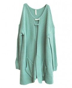 Casual Green Long Batwing Sleeves Cardigan