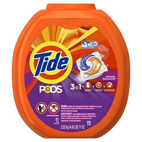 Discounted Tide PODS 3 in 1 HE Turbo Laundry Detergent Pacs, Spring Meadow Scent, 81 Count Tub - Packaging May Vary