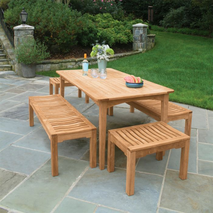 Melbourne 5 Ft 6 In Table With Foxhall Backless Benches Outdoor Living Furniture Outdoor Dining Table Teak Outdoor