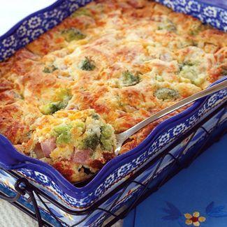 "Cheesy Ham & Broccoli ""Spoonbread"" (from Tara McConnell at QVC)"