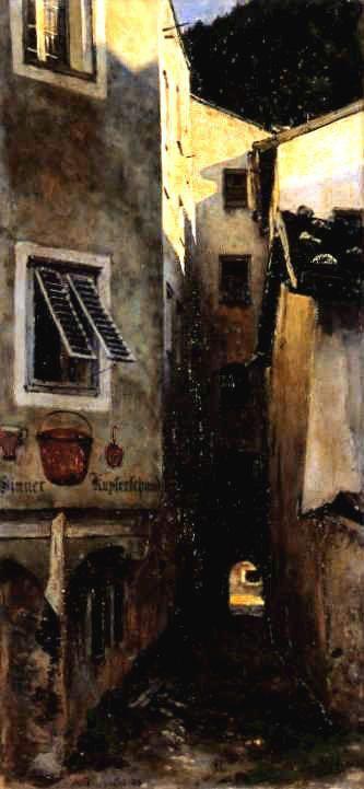 Alley town in Tyrol / Uliczka miasteczka w Tyrolu, 1889, Aleksander Gierymski
