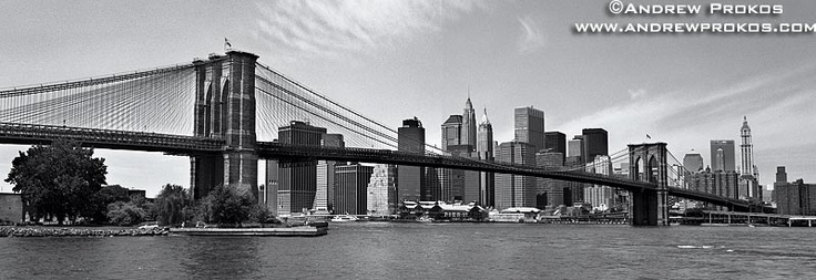 Panoramic View of the Brooklyn Bridge and Lower Manhattan - http://andrewprokos.com/photos/black-and-white/