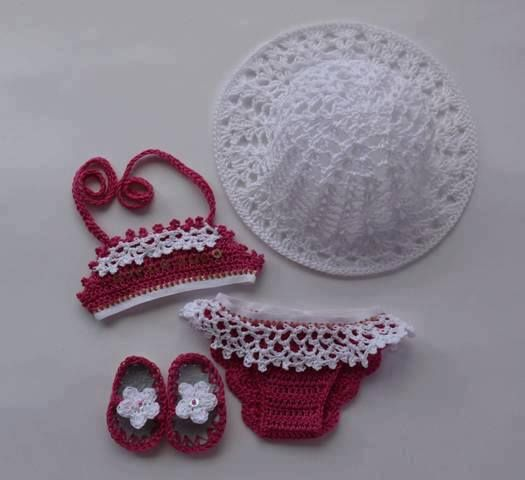 Baby Swim Suit, Flip Flops, and Sun Hat - no link to pattern