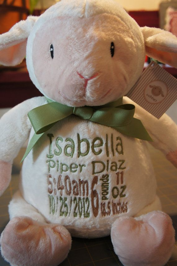 235 best baby cubbies images on pinterest cubbies cubicles and personalized baby gift baby cubby loverbee lamb a plush stuffed animal keepsake with machine embroidered birth information negle Gallery