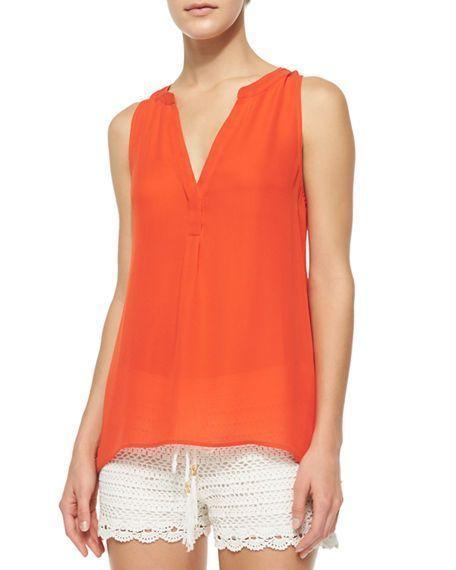 11686ce5d1541a JOIE Aruna Blouse Womens Sz XS Split Seam V-Neck Silk Sleeveless Top Orange   176  JOIE  Blouse