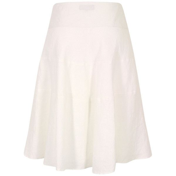 Great Plains J3BG9 Sandbanks White Linen Tiered Skirt ($83) ❤ liked on Polyvore