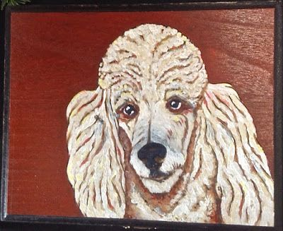 Poodle pyro/acrylic painting
