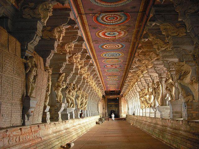 Inside the Ramanathaswamy Temple in Rameswaram, India (by NancyJTripp).