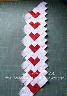 Quilt Mania Brazil: Seminole Vertical Heart  -  a great idea for a boarder