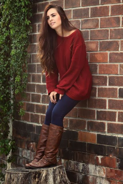 Cute fall outfits with burgundy sweater fashion | Fashion World