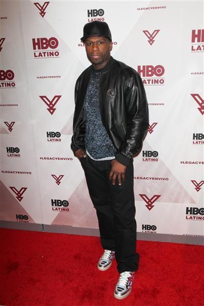 """50 Cent arrives at the """"Yandel: Camino al Concierto"""" HBO screening in New York on April 7, 2015."""